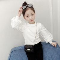 2019 Autumn Cotton Baby Toddler Teenager Girls Blouse White Lace Puff Long Sleeve Girl Shirt Kids Tops Children's Clothes JW4153
