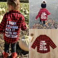 Toddler Kids Baby Boy Girl Red Plaid Tops Shirt Buttoned Long Sleeve Shirt I THINK I'M GONNA KICK IT TODAY WITH MY MOM TODAY