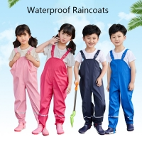 2021 Baby Girls Trousers PU Windproof Toddler Boys Rain Jumpsuit Waterproof Children's Overalls Spring Pants Clothes for Kids