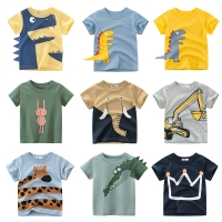 Boys T-shirt Summer Children Tops Clothing  Cotton Dinosaur Short Sleeve T Shirts Kids Boy White Girls Tee Toddler 2-8Years Baby