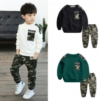 Teen Kids Clothes Baby Boys Costume Letter Tracksuit Camouflage Tops Pants 2PCS Children Boy Winter Outfits Set roupa infantil