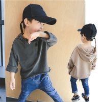 Tracksuit Hoody Tops Baby Boys and Girls Solid Color Sweatshirts Cotton Clothes for Kids Hooded T Shirt Loose Style Pullovers