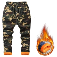 Boys Girls Jeans Thicken Camouflage Pants Long New Brand Winter Fleece Cotton Warm Trouser Fashion Clothes for 2-10 Years