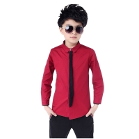 Hot Sale Children Boy's Red Shirts Spring 2019 Classic Solid White Tops Cotton Long Sleeve Shirt for 4-15Yrs Autumn Kids Clothes