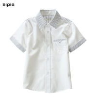 Promotion Children Boys Shirts Casual Solid Turn-down Collar Short-sleeve Shirts for 3-10 years kids wear