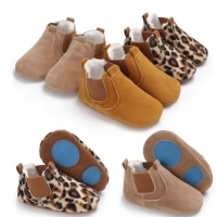New Toddler Newborn Baby Boy Girl Leather Soft Sole Crib Shoes Sneakers Prewalker Leopard Solid Warm First Walkers