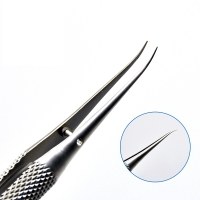 11cm Stainless Steel Round Handle Micro Tweezers Eyelid Tweezers Tooth Platform Ophthalmic Instruments Surgery Tools