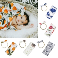 100*110cm Photography Prop Cotton Summer Baby Blankets Soft Bedding Bath Towel Newborn Infant Sleeping Swaddle + Headband