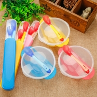 3Pcs/set Baby Learning Dishes With Suction Cup Kids Safety Dinnerware Set Assist Bowl Temperature Sensing Spoon Fork Tableware
