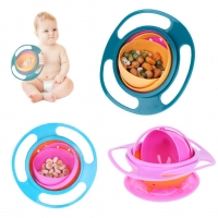 Newborn Baby Bowl Universal Gyro Bowl Practical Design Children 360 Degrees Rotate Balance Gyro Umbrella Bowl Spill-Proof Bowl