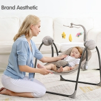 IMBABY Baby Rocking Chair Baby Swing Electric Baby Cradle With Remote Control Cradle  Rocking Chair For Newborns Swing Chair