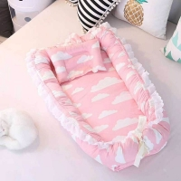 Newborn Baby Portable Crib Safety Protection travel Bed Crib Printing Baby Nest Foldable washable 2pcs/set BXX025