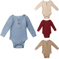 2019 New Spring Autumn Newborn Infant Baby Girl Boy Ribbed Bodysuit Ruffle One-Pieces Solid Jumpsuit Long Sleeve Outfits Sunsuit