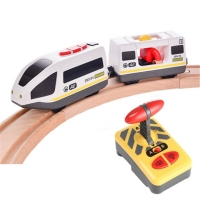 Toys for Children Remote Control Electric Train Toy Magnetic Slot Compatible with Brio Wooden Track Car Toy Kids Gift