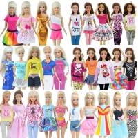5 Pcs Fashion Daily Wear Casual Outfits Vest Shirt Skirt Pants Dress Dollhouse Accessories Clothes for Barbie Doll