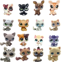LPS CAT Old Pet Shop Cute Toys Mini Short Hair Kitten HIMALAYAN Kitty Husky Dog Spaniel Collie Great Dane Rare Figure Collection