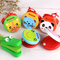 Kids Wooden Castanets Toy Music Instruments For Baby Clapper Handle Musical Instruments Toys Educational Toys For Children