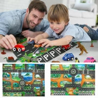 City Traffic Baby Crawling mat Climbing Pad Road Carpet Playmat Rug For Cars English City Parking Lot Map Play Carpet for Baby