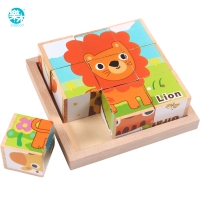 Baby toy Wooden block Chopping block Wooden cubes Animal Fruit Traffic 9pcs 6 side Educational toys for Children