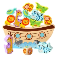 Odorless Bitable Paint Wooden Blocks Boat Animal Wave Base Stacking Balance Game Building Blocks Children Baby Puzzle Toy