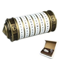 Leonardo DaVinci Code Toys Metal Cryptex Locks Wedding Gifts Valentine's Day Gift Letter Password Escape Chamber Props