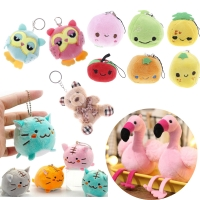 Mini Cute Fruit Peach Soft Stuffed Flamingo Plush Toy Keychain Ring Pendant Children Kids Playmate Valentine Gifts Unisex