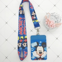 Disney Stitch PU coin purse card holder keychain key lanyard meal card bus card case coin bag Mickey mouse Document card bag
