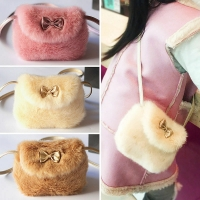 2019 New Baby Girls Furry Now Bags Warmly Children Cross Body Mini Purse Bowknot Artificial Fur Bag Kids Birthday Gifts