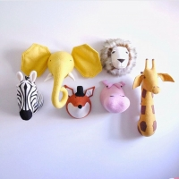 3D Animal Head Wall Mount Zebra/Elephant/Giraffe Stuffed Toys Children Kids Room Wall Hanging Decoration Birthday Christmas Gift