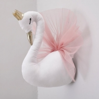 3D Crown swan wall decoration wall-hanging stuffed animals head Wall  Hangin Girl Pink Goose Swan Dolls  Kids Toys