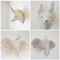 Nursery Animal Heads Wall Decoration For Kids Baby Room Wall Mount Hanging Stuffed Elephant Deer Unicorn Head Toys Home Decor
