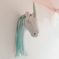 Nursery Plush Unicorn Head Wall Decor Animal Statues Sculptures for Children Room Wall Hanging Decor Birthday Party Christmas
