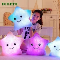 34CM Glowing Colorful Stars Cushion Led Light Toys Creative Luminous Pillow Soft Stuffed Plush Gifts For Kids Children Girls