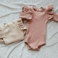 0-24M Newborn Baby Girls Boys Romper Long Sleeve Romper Jumpsuit Bodysuit One-Pieces Autumn Winter Cotton Solid Color Clothes