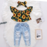 3PCS Summer New Toddler Kids Baby Girls Clothes Off Shoulder Sunflowers Shirt Tops + Hole Denim Pants + Headband Outfits 1-5Y
