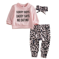 Focusnorm New Fashion 3pcs Cute Baby Girl Fall Clothing Leopard Print T-Shirt Tops Long Pants Outfit Clothes Set