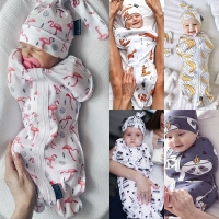 0-6Month Newborn Infant Kids Baby Girls Boys Sleeping Bags+Hats Cartoon Print Cotton Autumn Blanket 2pcs