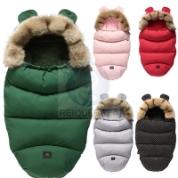Winter Sleeping Bags Envelope Newborn Baby Stroller Pad Sleepsack Hooded With Cute Ear Thick Warm Infant  Footmuff Wheelchair