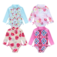 2021 New Summer Toddler Infant Baby Girl Swimsuit Cute Long Sleeve One-piece Floral Swimwear Swimming Costume Summer Cute Bikini