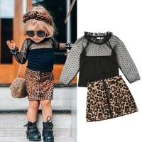 1-6Y Fashion Toddler Baby Girl Leopard Print Clothes Ruffles Lace Tops T Shirt Skirt Tracksuit Outfit