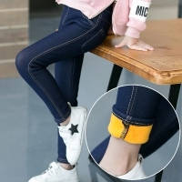 Girls Jeans Autumn Winter Thick Velvet Warm Long Trousers Girls Leggings Skinny Stretch Jeans Denim Pencil Pants for 3-12 Years
