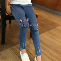 2019 Spring Autumn Girls Jeans Children's Clothing Kids Cat Embroidered Jeans Kids for 3-12 Years