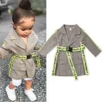 2019 Fashion Toddler Kids Baby Girl Winter Coats Clothes Belted Plaid Print Coat Jacket Formal Outwear 0-5Y