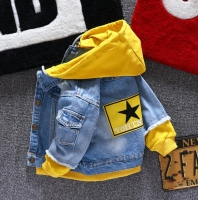 Boy girl Denim Jackets kids jeans coat Children splice Outerwear clothing Spring Autumn boy hooded sport Clothes For 1-6T kids