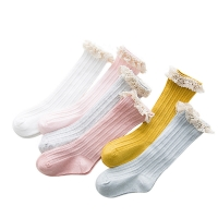 Free Shipping Children's Knee High Socks with Lace Cheap Stuff  Ruffle Socks Kid Princess Girls Baby Leg Warmers Cotton