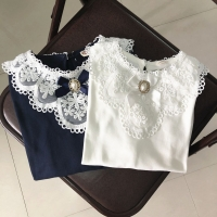 New 2019 Spring Fall Winter School Girls Shirts Kids White Long Sleeve Lace Bow Girl Tops And Blouse Baby Toddler Clothes JW3258