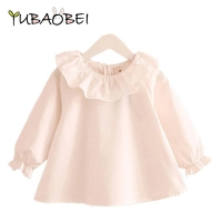 Little Girl Shirts 2019 Spring  Fashion Ruffle Neck Baby Girls Blouses Cute Long Sleeve korean Tops Kids Clothes Age 1 2 4 6 8 T