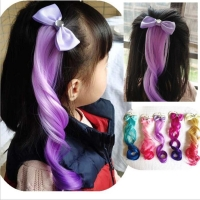Child Cute Bow Crystal Elastic Hair Band Rubber Band Hair Accessories Kids Wig Headband Girls Twist Braid Rope Headdress