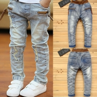 DIIMUU Kids Skinny Jeans Boys Denim Pants Teenage Casual Trousers Children Clothes Pockets Zipper Spring Stretch Long Pants