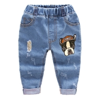 2018 Fashion Children Jeans Baby Boys Cartoon Trousers Pant Baby Girls  Grinding Holes Jeans Kids Spring Autumn Clothes 2-6Years
